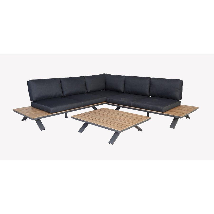 Hoek Loungeset - Alvor - Acacia/Aluminium - Antraciet - Garden Interiors-2