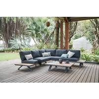 thumb-Hoek Loungeset - Alvor - Acacia/Aluminium - Antraciet - Garden Interiors-4