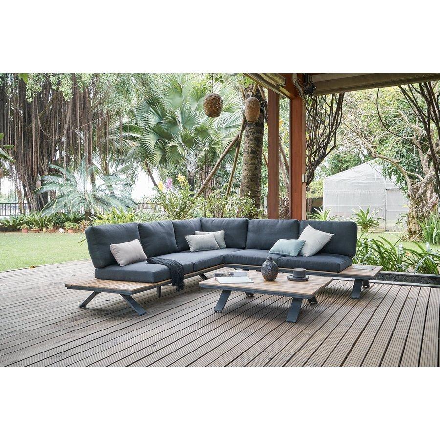 Hoek Loungeset - Alvor - Acacia/Aluminium - Antraciet - Garden Interiors-4