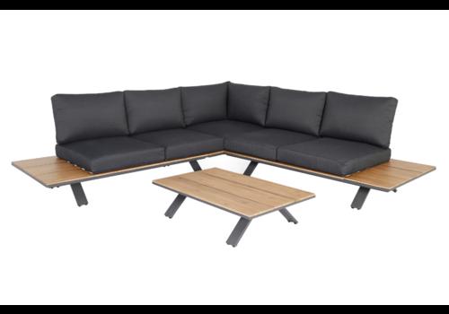 Hoek Loungeset - Alvor - Acacia/Aluminium - Antraciet - Garden Interiors