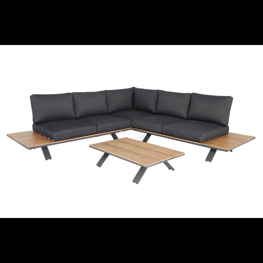 Hoek Loungeset - Alvor - Acacia/Aluminium - Antraciet - Garden Interiors-1
