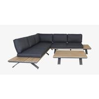 thumb-Hoek Loungeset - Alvor - Acacia/Aluminium - Antraciet - Garden Interiors-3