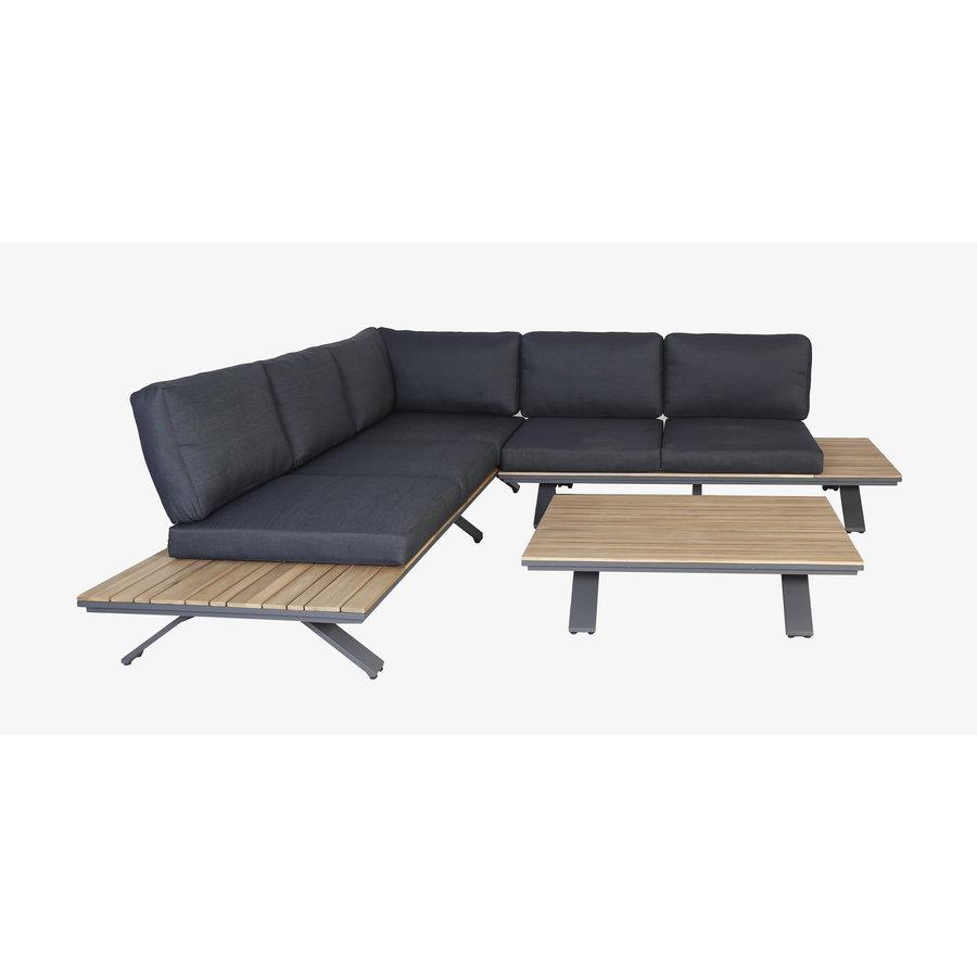 Hoek Loungeset - Alvor - Acacia/Aluminium - Antraciet - Garden Interiors-3