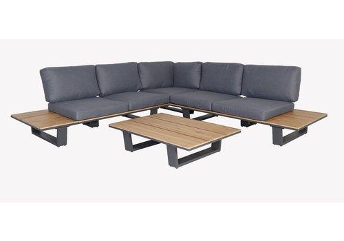 Hoek Loungeset - Lota - Acacia/Aluminium - Antraciet - Garden Interiors