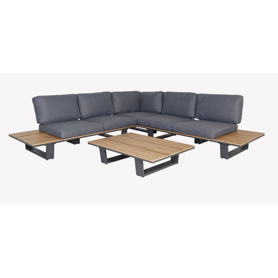 Hoek Loungeset - Lota - Acacia/Aluminium - Antraciet - Garden Interiors-1
