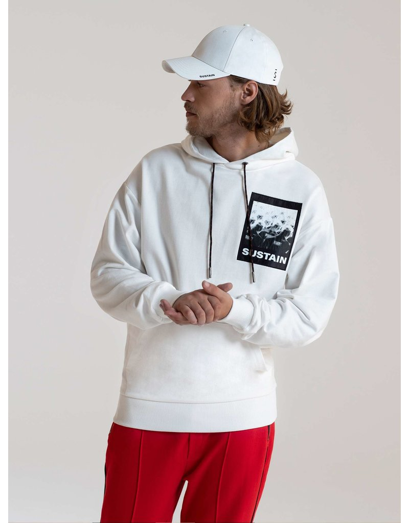 SUSTAIN Scribble Oversized Hoodie OffWhite