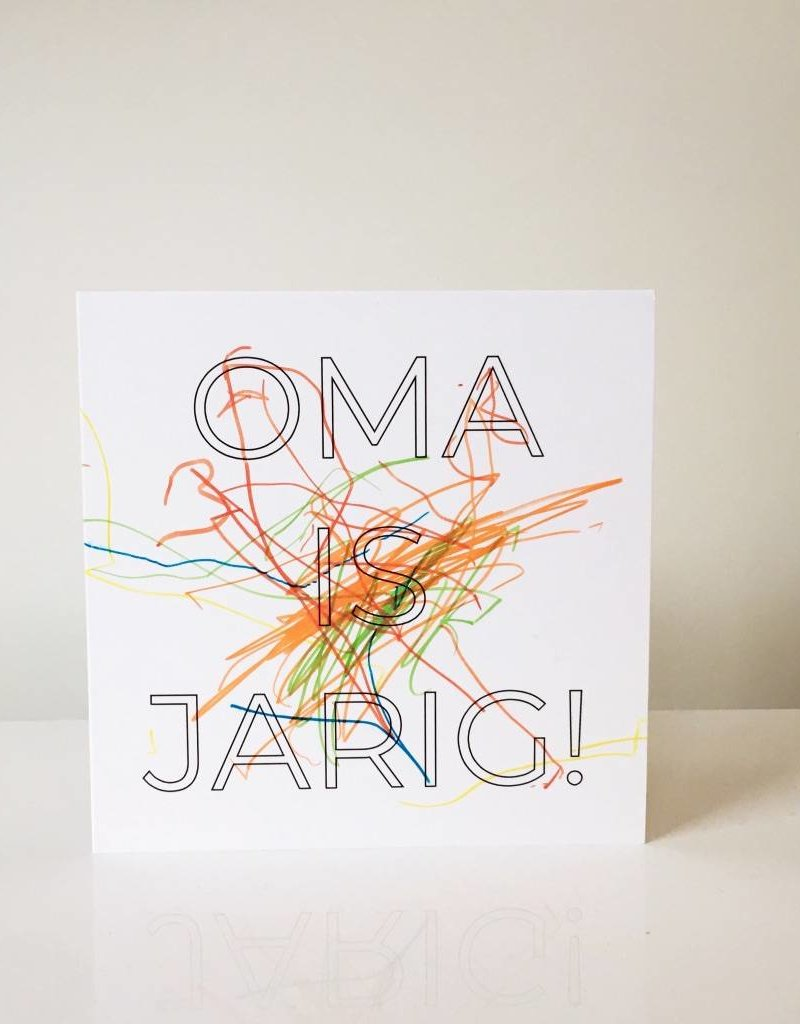Monochroom / inkleurkaart Oma is jarig!