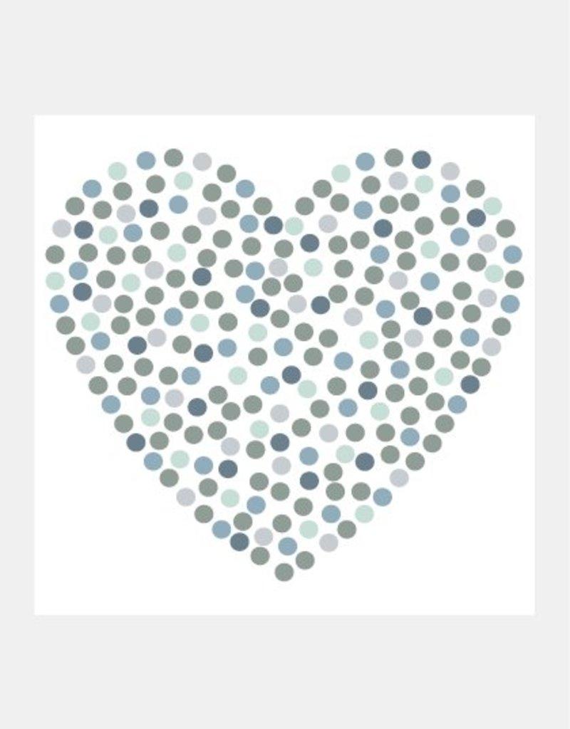 Blauw stippen hart