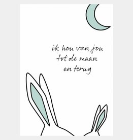 Ik hou van jou tot de maan en terug - mintgroen (A4/A3)