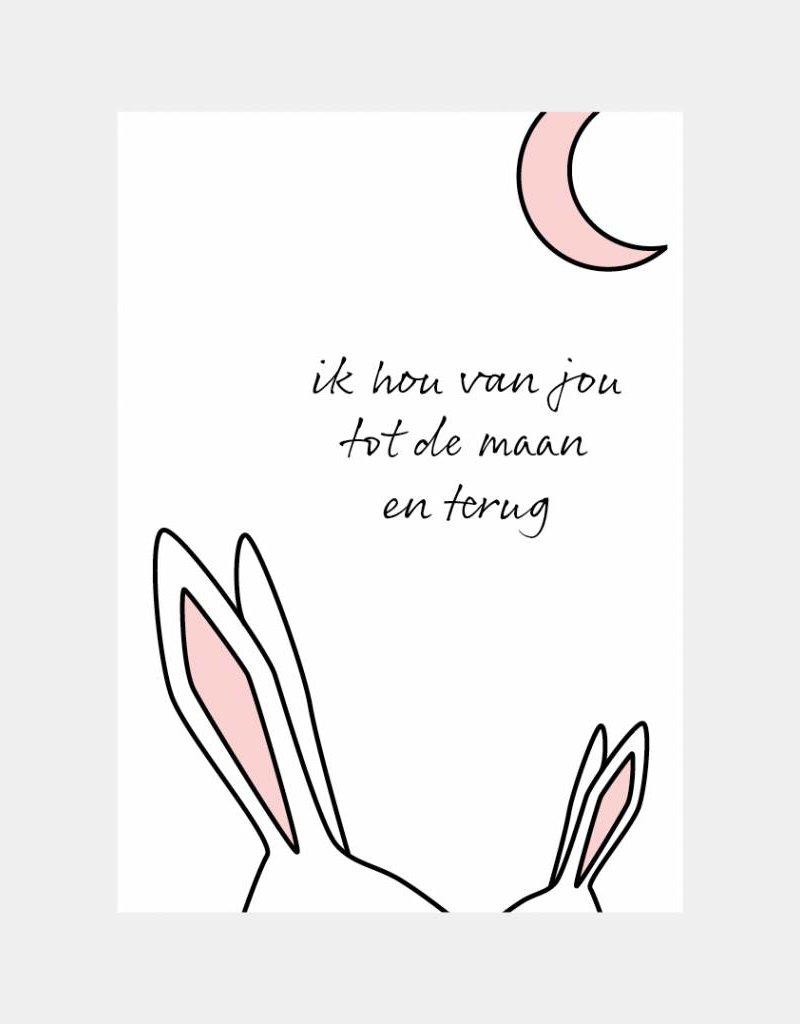 Ik hou van jou tot de maan en terug - roze  (A4/A3)