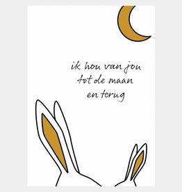 Ik hou van jou tot de maan en terug - okergeel (A4/A3)