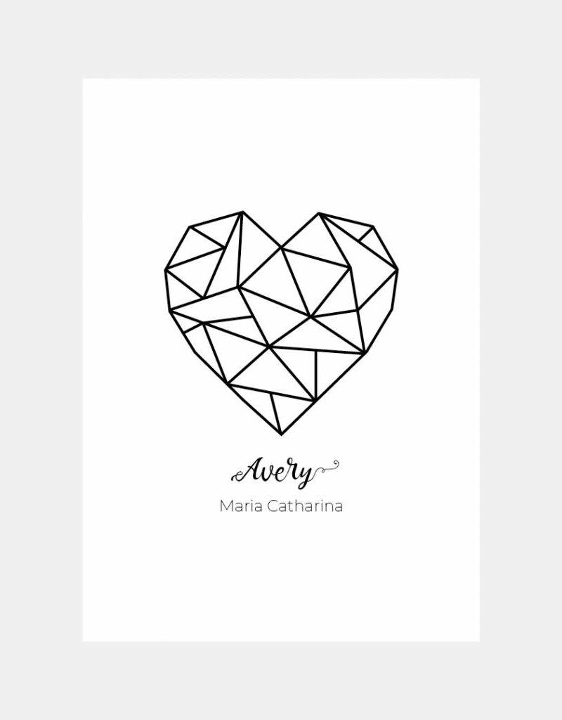 Naamposter geometrisch hart (A4/A3)
