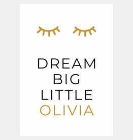 Naamposter Dream big little .....  (A4/A3 - okergeel)