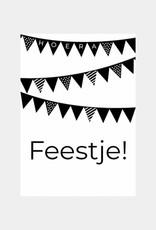 Kinderuitnodiging feestje vlaggetjes (6 stuks)