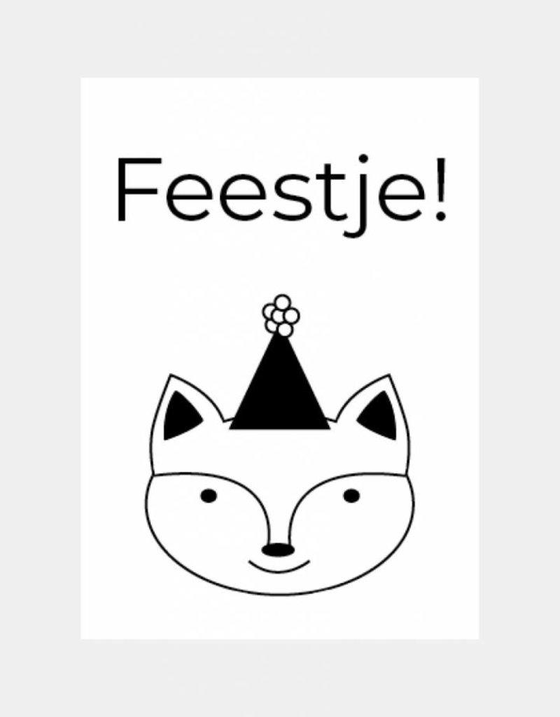 Kinderuitnodiging feestje - feest vosje (6 stuks)