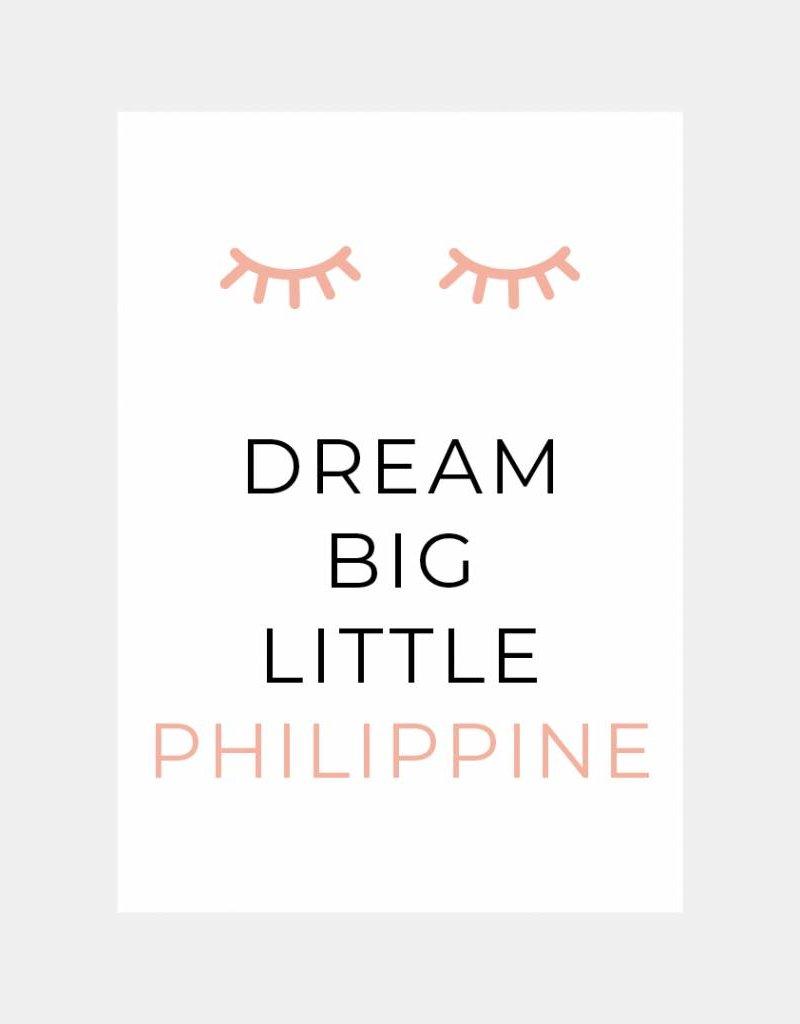 Naamposter Dream big little .....   (roze) A3/A4