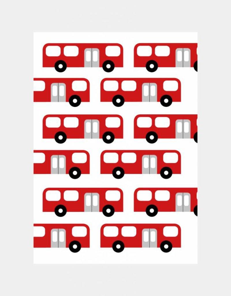Kinderuitnodiging feestje bus  (6 stuks)