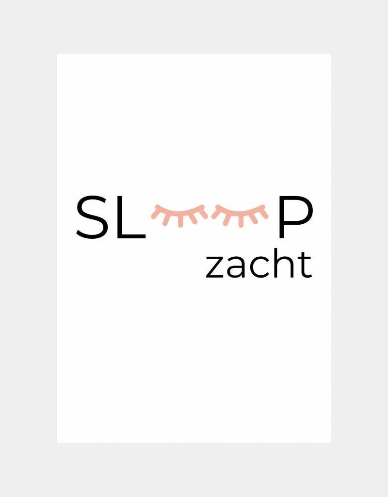 Slaap zacht poster - roze  (A4/A3)