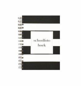 Schoolfotoboek zwart wit gestreept (A5 formaat)