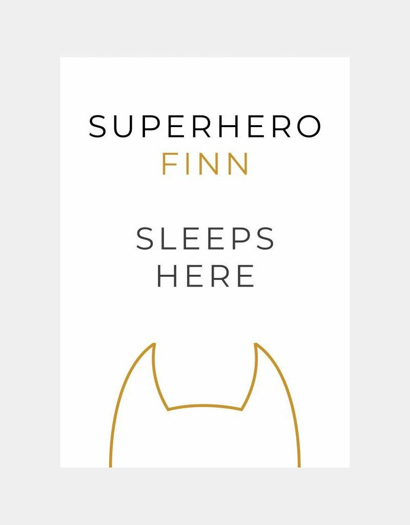 Naamposter Superhero ..... sleeps here  (A4/A3 - okergeel)
