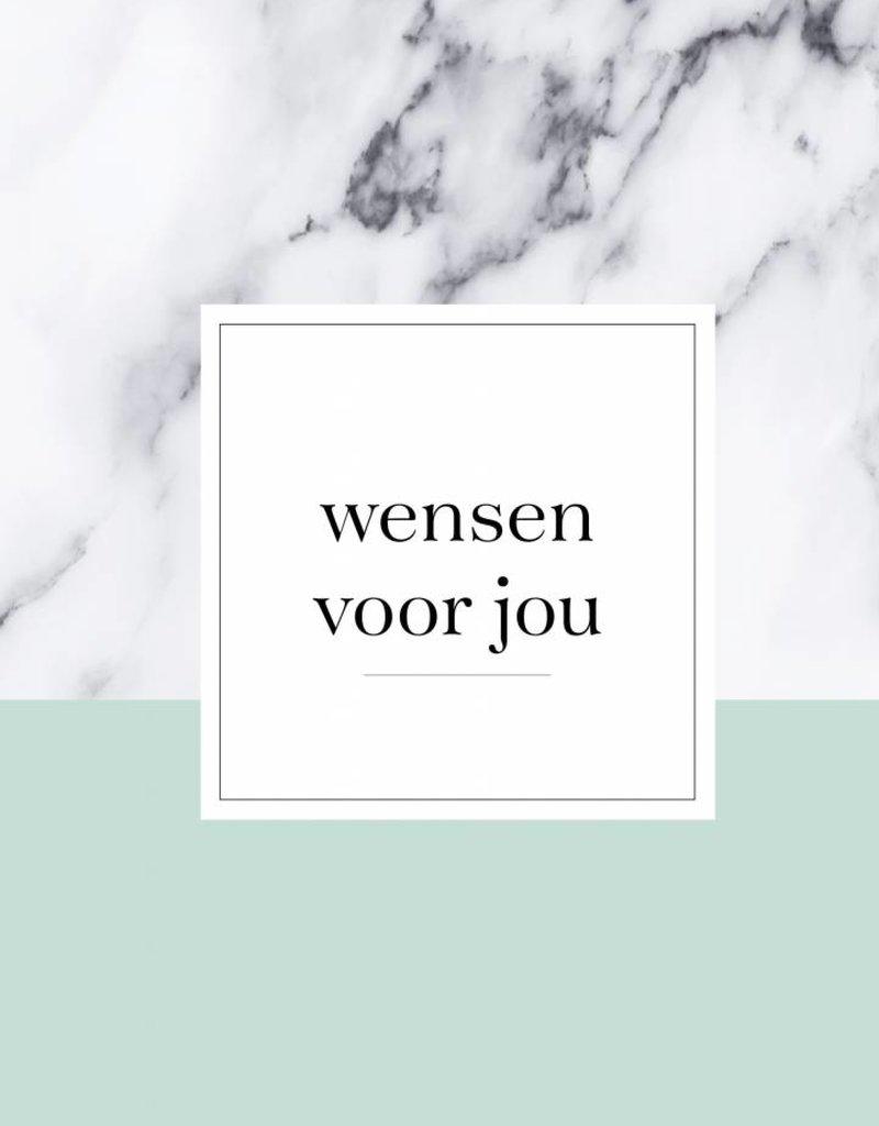 Wensenboekje (kraam / babyshower) -  marmer print mint