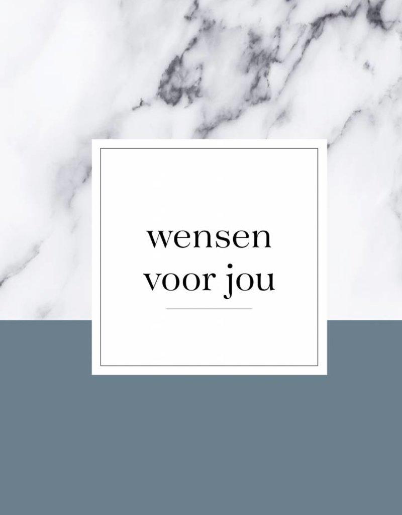 Wensenboekje (kraam / babyshower) -  marmer print blauw