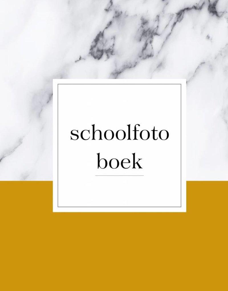 Schoolfotoboek marmer  (A5 formaat okergeel)