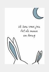Ik hou van jou tot de maan en terug - blauw (A4/A3)