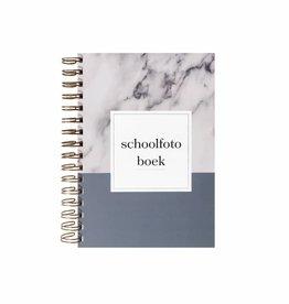Schoolfotoboek marmer  (A5 formaat blauw)