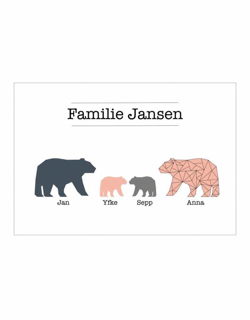 Familie poster beren  (A4/ A3 / Printable)