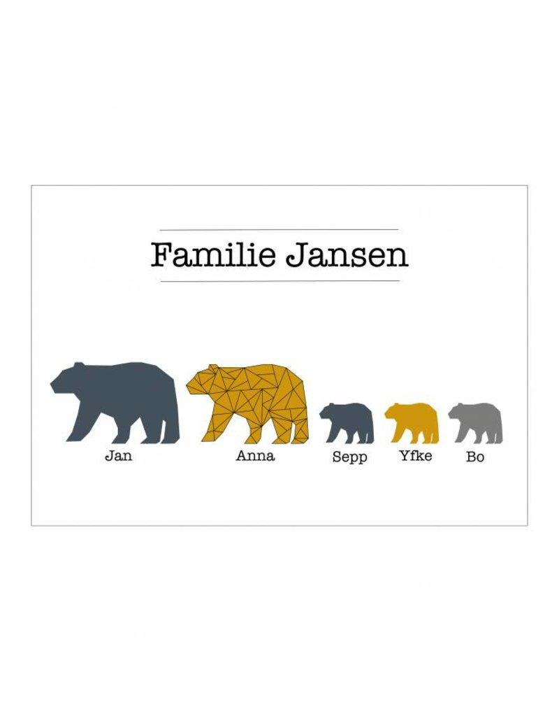 Familie poster beren  rijtje (A4 / A3 / Printable)