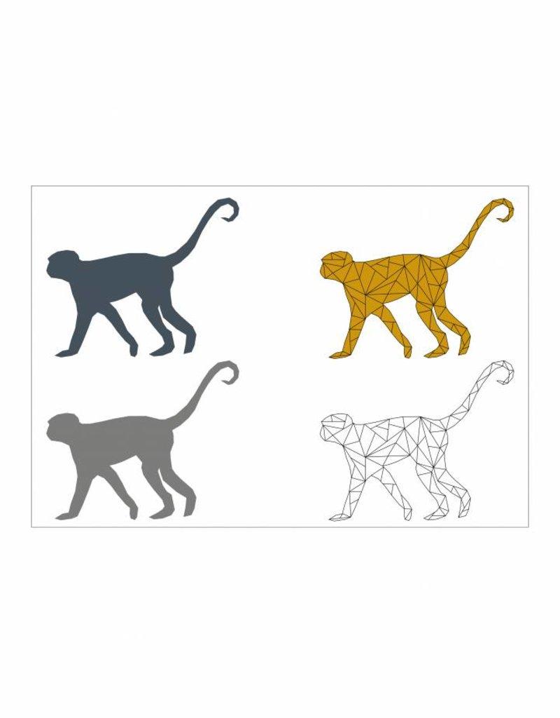 Familie poster apen  rijtje (A4 / A3 / Printable)