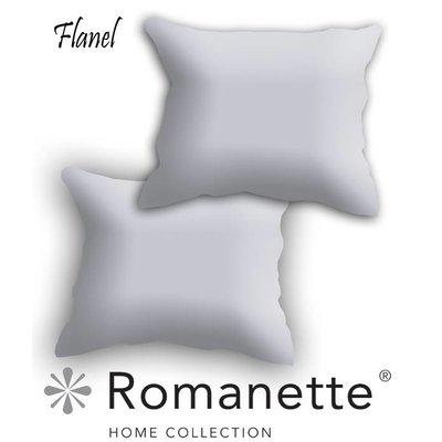 Romanette Kussen sloop Flanel Romanette Silver set 2 stuks