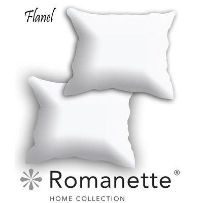Romanette Kussen sloop Flanel Romanette Wit set 2 stuks
