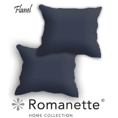 Romanette Kussen sloop Flanel Romanette Antraciet set 2 stuks