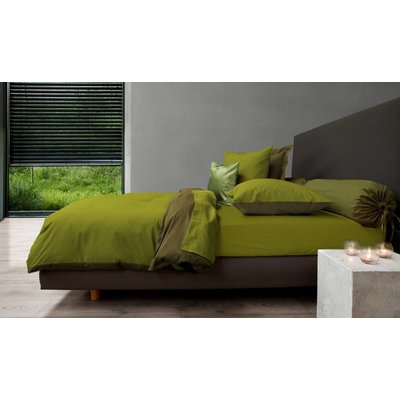 HNL Living Dekbedovertrek Perkal Katoen HNL Royal Cotton Green Oasis/Burnt Olive