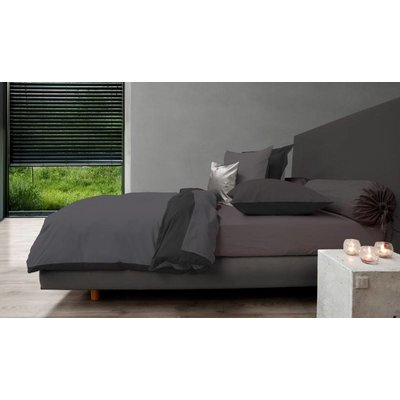 HNL Living Dekbedovertrek Perkal Katoen HNL Royal Cotton Castle Grey/Jet Black