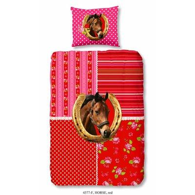 Goodmorning Dekbedovertrek Flanel Goodmorning Horse Rood
