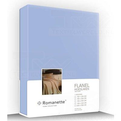 Romanette Flanel Hoeslaken Bleu