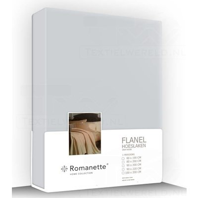 Romanette Flanel Hoeslaken Silver