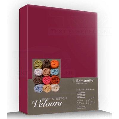 Romanette Hoeslaken Velours Romanette Bordeaux bordeaux