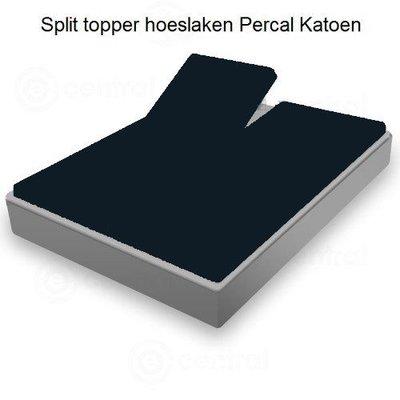 Huismerk Split Topper Hoeslaken  Percal Antraciet