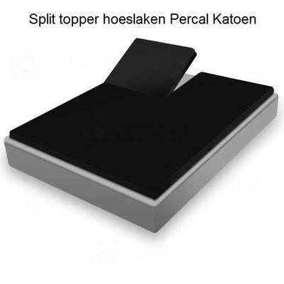Huismerk Split Topper Hoeslaken Huismerk Percal Zwart