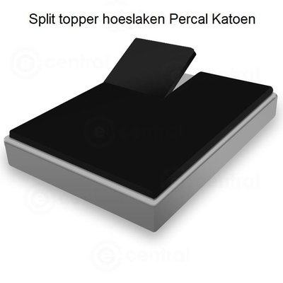 Huismerk Split Topper Hoeslaken Percal Zwart