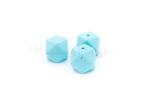 Exclusief bij Hugs & Things Hexagon - Zachtturquoise Spikkels