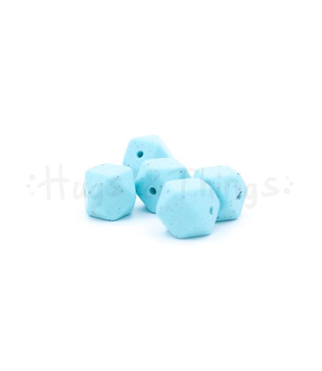H&T Mini-Hexagon - Zachtturquoise Spikkels