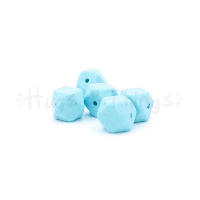 Mini-Hexagon - Zachtturquoise Spikkels