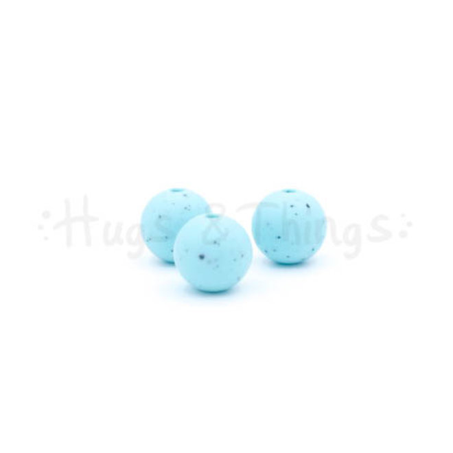 12 mm  - Zachtturquoise Spikkels