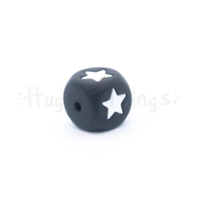 Zwarte siliconen kraal met ster