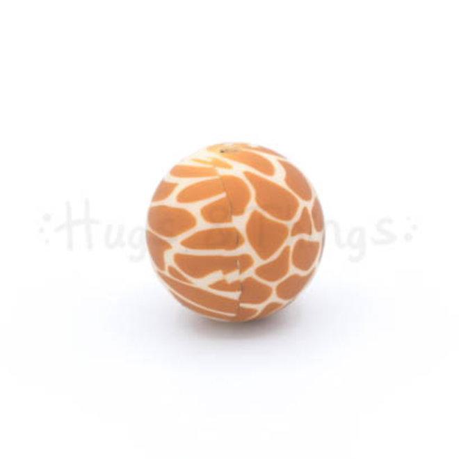 Kraal met girafprint - Hexagon 17mm